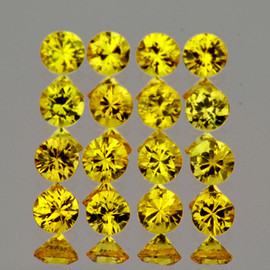 1.70 mm 35 pcs Round Brilliant Machine Cut AAA Yellow Sapphire Natural {Flawless-VVS1}