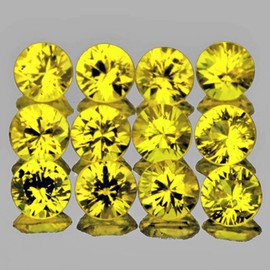 2.50 mm 12 pcs Round Brilliant Cut AAA Fire AAA Canary Yellow Sapphire Natural {Flawless-VVS1}