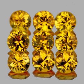 3.00 mm 9 pcs Round AAA Fire Intense Yellow Sapphire Natural {Flawless-VVS}