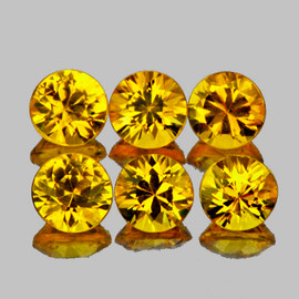 3.20 mm 6 pcs Round Brilliant Cut AAA Fire Intense Yellow Sapphire Natural {Flawless-VVS1}