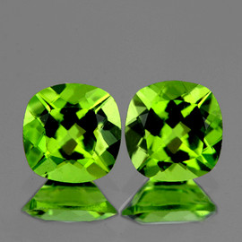6.00 mm 2 pcs Cushion AAA Fire AAA Green Peridot Natural {Flawless-VVS}