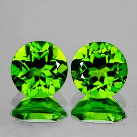 7.50 mm 2 pcs Round AAA Fire Intense AAA Green Peridot Natural {Flawless-VVS1}