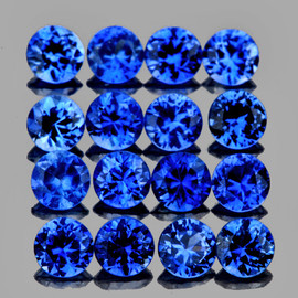 2.30 mm 16 pcs Round AAA Fire AAA Mozambique Blue Sapphire Natural (Unheated) {Flawless-VVS}--AAA Grade