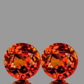 4.50 mm 2pcs {1.04 cts} Round AAA Fire AAA Orange Sapphire Natural {Flawless-VVS}