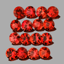 2.50 mm 16 pcs Round AAA Fire Orange Red Sapphire Natural {Flawless-VVS}