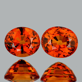 6x5 mm 2pcs Oval { 2.07 cts} AAA Fire Natural Intense Orange Sapphire {Flawless-VVS}