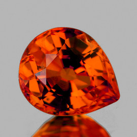 7x6 mm Pear {1.40 cts} AAA Fire Natural Intense AAA Orange Sapphire {Flawless-VVS}--AAA Grade