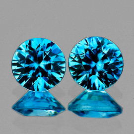 5.50 mm 2 pcs Round Diamond Cut Extreme Brilliancy Fire Intense AAA Blue Zircon {Flawless-VVS1)--AAA Grade