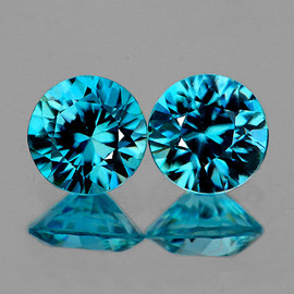 5.00 mm 2 pcs Round Diamond Cut Extreme Brilliancy Fire Intense AAA Blue Zircon {Flawless-VVS1)--AAA Grade
