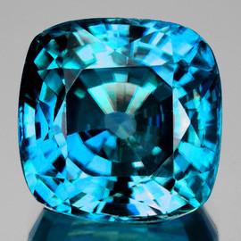 8.00 mm {4.00 cts} Cushion AAA Fire Intense AAA Blue Zircon Natural {Flawless-VVS1}--AAA Grade