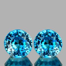 5.50 mm 2 pcs Round AAA Fire Intense Blue Zircon Natural {Flawless-VVS1)