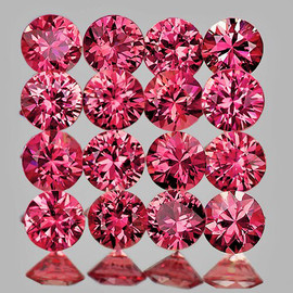 2.00 mm 25 pcs Round Brilliant Cut AAA Fire Pink Red Mozambique Ruby Natural (Unheated) (Flawless-VVS}--AAA Grade
