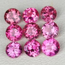 3.50 mm 9 pcs Round AAA Fire Hot Pink Tourmaline Natural {Flawless-VVS1}--AAA Grade