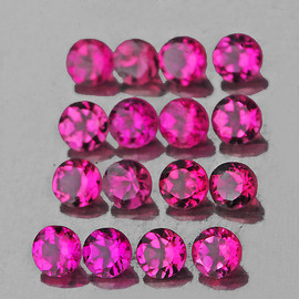 2.50 mm 16 pcs Round AAA Fire Hot Pink Rubellite Natural {Flawless-VVS}