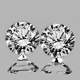 2.90 mm 2 pcs Round Color F-G Extreme Brilliancy Natural White Diamond --AAA Grade