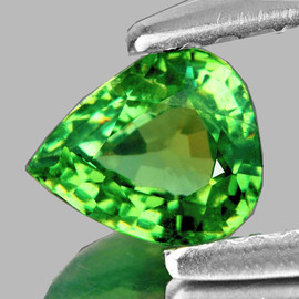 0.63 cts Pear 5.5x4.5 mm Fire Green Demantoid Natural {SI - Horse Tail Inclusion)