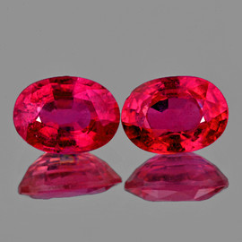 7x5 mm 2 pcs Oval AAA Fire Natural Red Mozambique Ruby