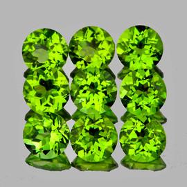5.00 mm 9 pcs Round AAA Fire AAA Green Peridot Natural {Flawless-VVS}--AAA Grade