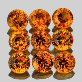 3.00 mm 9 pcs Round AAA Fire Mandarin Orange Spessartite Garnet Natural {VVS}