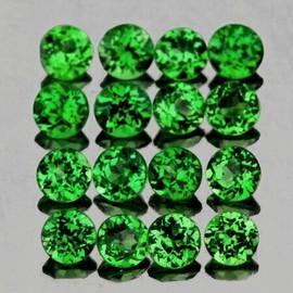 1.20 mm 67 pcs Round Diamond Cut AAA Fire Emerald Green Tsavorite Garnet Natural {Flawless-VVS}