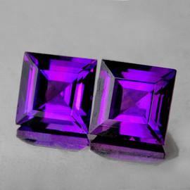6.00 mm 2pcs Square AAA Fire Intense AAA Purple Amethyst Natural (Flawless-VVS}
