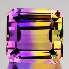 13 mm {12.27 cts} Octagon Bi-Color 50/50 Split Yellow Purple Natural Bolivia Ametrine {Flawless-VVS1}