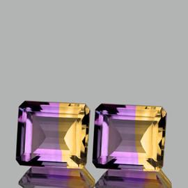 13.50x12.50 mm 2pcs {20.56 cts} Octagon Bi-Color 50/50 Split Yellow Purple Natural Bolivia Ametrine {Flawless-VVS1}