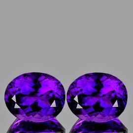 14x12 mm 2pcs {15.68 cts} Oval Best AAA Fire Intense AAA Purple Amethyst Natural {Flawless-VVS}