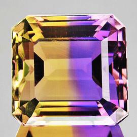 13x12 mm {11.32 cts} Octagon Emerald Cut Bi-Color 50/50 Split Yellow Purple Natural Bolivia Ametrine {Flawless-VVS1}