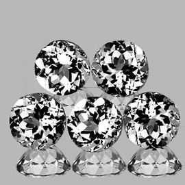 7.00 mm 5 pcs Round Brilliant Cut Best AAA White Topaz Natural {Flawless-VVS1}
