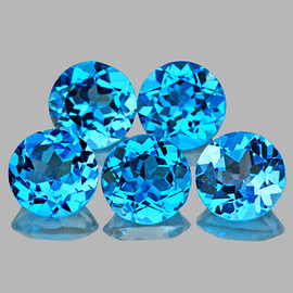 6.00 mm 5 pcs Round AAA Superb Luster Natural Swiss Blue Topaz [Flawless-VVS]