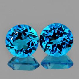 8.00 mm 2 pcs Round Brilliant Cut Best Sparkling Natural Swiss Blue Topaz {Flawless-VVS1}