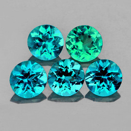 5.00 mm 5 pcs {2.35 cts} Round AAA Fire Mix Paraiba Green Blue Apatite Natural {VVS-VS}