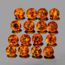 2.20 mm 16 pcs Round Diamond Cut Natural Mandarin Orange Spessartite Garnet  {Flawless-VVS1)