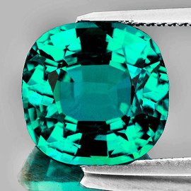 7.00 mm {1.72 cts} Cushion AAA Fire Intense Paraiba Green Blue Apatite Natural {Flawless-VVS}--AAA Grade