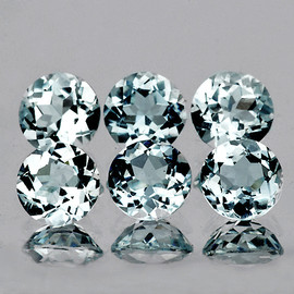 4.00 mm 6 pcs Round AAA Fire Natural Soft Blue Aquamarine {Flawless-VVS}