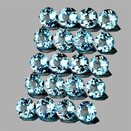 2.50 mm 20 pcs Round AAA Fire Natural Blue Aquamarine {Flawless-VVS}