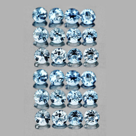 2.20 mm 25 pcs Round AAA Fire Natural Top Blue Aquamarine {Flawless-VVS}