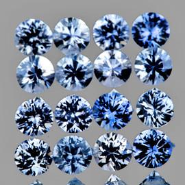 1.80 mm 35 pcs Round Machine Cut AAA Fire Ceylon Blue Sapphire Natural {Flawless-VVS}