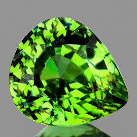 0.65 cts Pear 5.5x4.5 mm Premium Green Demantoid Natural  {Flawless-VVS1}