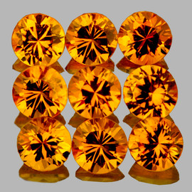 2.80 mm 9 pcs Round Brilliant Cut AAA Golden Yellow Sapphire Natural {Flawless-VVS}