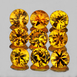 2.80 mm 9 pcs Round Brilliant Cut AAA Fire Intense Yellow Sapphire Natural {Flawless-VVS}