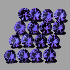 2.50 mm 16 pcs Round Brilliant Cut Intense AAA  Violet Blue Sapphire Natural (Unheated) {Flawless-VVS}--AAA Grade