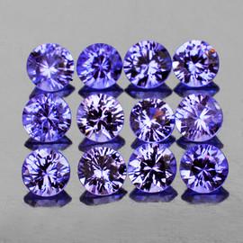 2.50 mm 12 pcs Round Brilliant Cut Best AAA Fire Violet Blue Sapphire Natural (Unheated) {Flawless-VVS}--AAA Grade