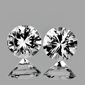 3.50 mm 2 pcs Round Brilliant Cut AAA Fire White Sapphire Natural {Flawless-VVS1}