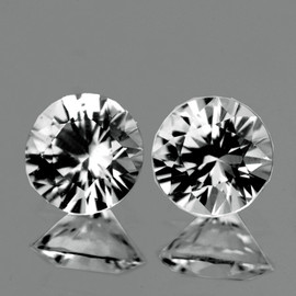 3.70 mm 2 pcs Round Brilliant Cut AAA Fire White Sapphire Natural {Flawless-VVS1}
