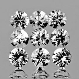 2.75 mm 9 pcs Round Brilliant Cut Best AAA Fire Diamond White Zircon Natural {Flawless-VVS1}