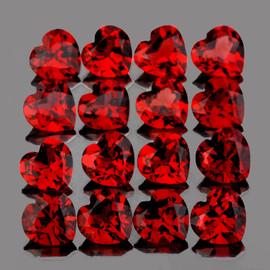 4.00 mm 16 pcs Heart AAA Fire Red Mozambique Garnet Natural{Flawless-VVS1)--AAA Grade