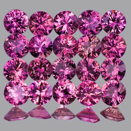 2.20 mm 16 pcs Round AAA Fire AAA Reddish Pink Sapphire Natural {Flawless-VVS1} --Unheated AAA Grade