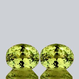 10x8 mm 2pcs {5.18 cts} Oval Brilliant Cut Best AAA Fire Top Green Gold Lemon Quartz Natural {Flawless-VVS}